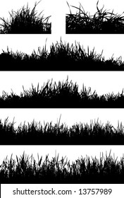 grass silhouette elements for design - vector illustration