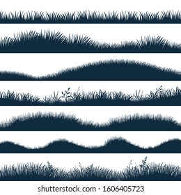 Grass silhouette. Horizontal hills with plants and weed, cartoon wavy meadow and grassland. Vector black marsh set, natural lawn to decoration edge field or background elements