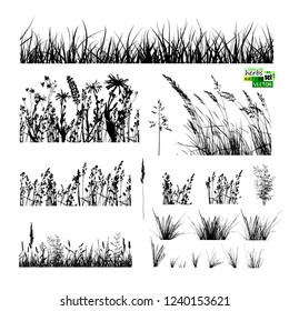 grass silhouette set. Vector