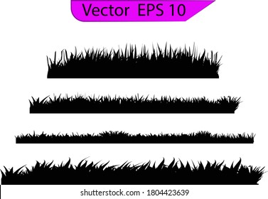 Grass silhouette. Turf coating banners for edging and overlays.  Cereal sprouts. Springtime growth greenery. Set of Backgrounds Of black Grass, Isolated On transparent Background
