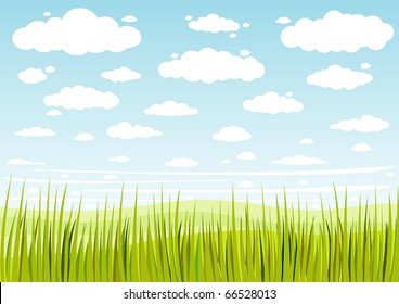 grass sky and clouds background