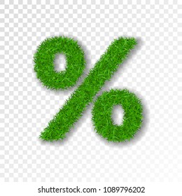 Grass symbol percent. Green percent, isolated on white transparent background. Green grass 3D percent, fresh symbol of nature, plant lawn, summer. Grass texture spring. Eco design Vector illustration