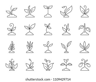 Grass thin line icons set. Outline web sign kit of plant. Sprout linear icon collection includes sapling, grow, bush. Simple grass black contour symbol isolated on white. Vector Illustration