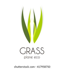 Grass treatment of natural curve abstract vector and logo design or template leaf group business icon of company identity symbol concept