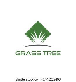 Grass tree business vector logo design template