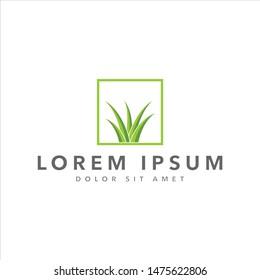 grass vector logo design template