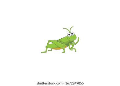 Grasshopper Animal Cartoon Vector Illustration