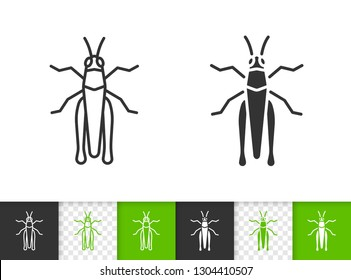 Grasshopper black linear and silhouette icons. Thin line sign of insect. Cricket Bug outline pictogram isolated on white, transparent background. Vector Icon shape. Chorthippus simple symbol closeup