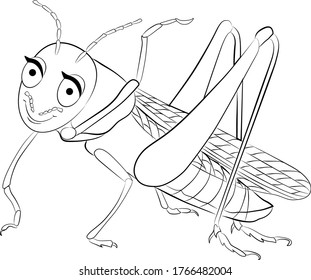 grasshopper cartoon colorless for coloring page. He smiles and waves foot. Vector illustration.