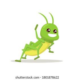 Grasshopper cute mascot insect design illustration