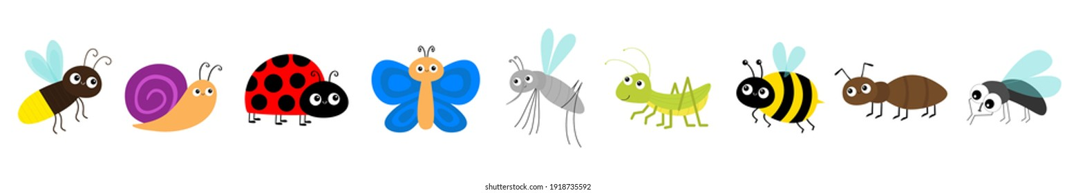 Grasshopper, fly, firefly, ant, mosquito, bee bumblebee, butterfly, snail cochlea, lady bug ladybird ladybug. Cute cartoon kawaii flying insect icon line set. Flat design. White background. Vector