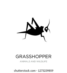 grasshopper icon vector on white background, grasshopper trendy filled icons from Animals and wildlife collection, grasshopper simple element illustration