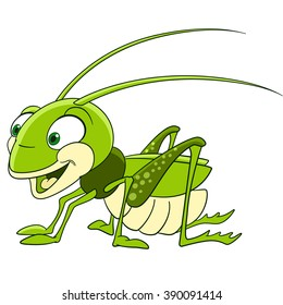 Grasshopper. Locust. Cartoon character isolated on white background. Colorful design for kids activity book, coloring page, colouring picture. Vector illustration for children.