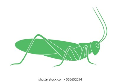 Grasshopper logo. Isolated grasshopper on white background. EPS 10. Vector illustration