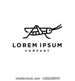 Grasshopper mantis logo, cricket insect icon in trendy minimal Geometric line linear style