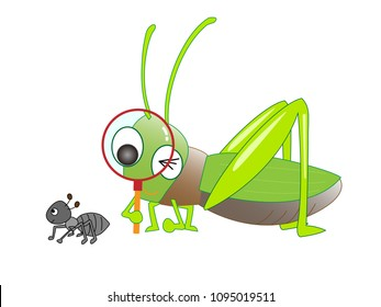 A grasshopper is observing a butterfly with a magnifying glass.