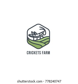 Grasshopper on the field. Geometric figure. logo Grasshopper, cricket insect logo