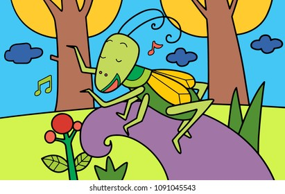 A grasshopper sings his song in autumn