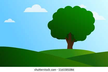 Grassy hill and big tree vector illustration wallpaper background.