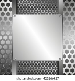 grate background and steel plaque