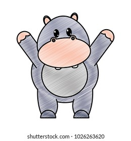 grated adorable hippopotamus wild animal with hands up