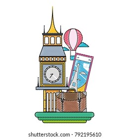grated big ben of london with air balloon