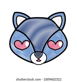 grated enamored fox head cute animal