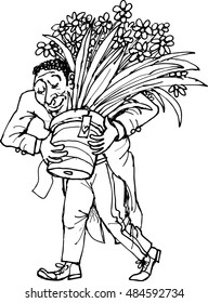 grateful man with a bouquet of flowers in hand, outline