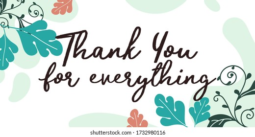 Grateful Quotes thank you for everything vector wall art ready print in Natural Background Frame for Interior, wall decor, Banner, Sticker, Label, Greeting card and many more