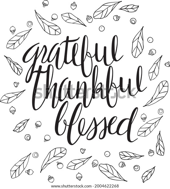 Grateful Thankful Blessed Fall Vector