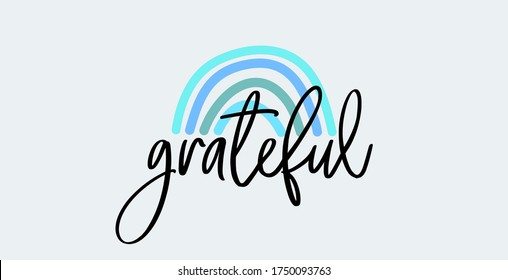 Grateful Thanksgiving vector with an elegant and modern calligraphy. Grateful hand drawn postcard. Vector lettering. Ink illustration. Modern brush calligraphy. Isolated. Grateful, ink hand lettering