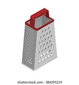 Grater icon. Vector grater icon. Isometric grater. Greater isolated. Kitchen equipment. Lonely grater with red handle