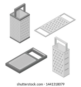 Grater icons set. Isometric set of grater vector icons for web design isolated on white background