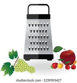 Grater metallic icon vector and fruits apple, strawberry, cherry, grapes illustration. Kitchen equipment steel food cut accessory isolated on white.