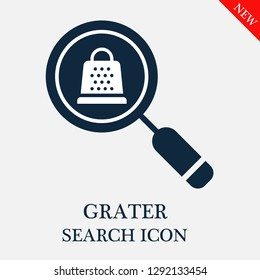 Grater search icon. Editable Grater search icon for web or mobile.