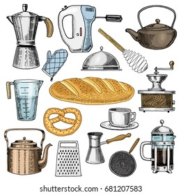 Grater and whisk, frying pan, Coffee maker or grinder, french press, mixer and baked loaf. kitchen utensils, cooking stuff for menu decoration. engraved hand drawn in old sketch and vintage style.