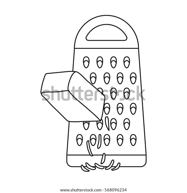 Grating cheese icon in outline style isolated on white background. Pizza and pizzeria symbol stock vector illustration.