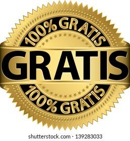 Gratis golden label, vector illustration