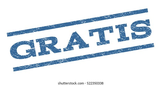 Gratis watermark stamp. Text tag between parallel lines with grunge design style. Rubber seal stamp with dust texture. Vector cobalt blue color ink imprint on a white background.