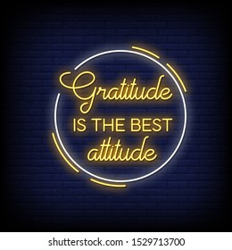 Gratitude is the best attitude neon signs style text vector