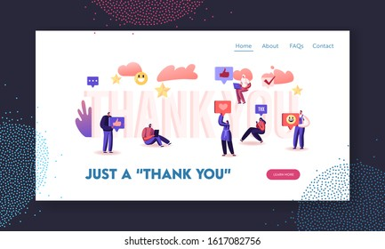 Gratitude in Internet Website Landing Page. Subscribers and Followers with Digital Devices around of Huge Word Thank You. Social Media Networking Web Page Banner. Cartoon Flat Vector Illustration