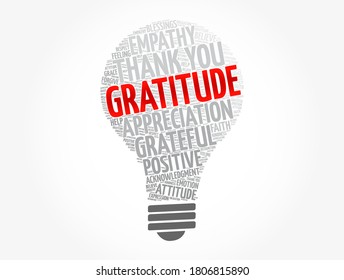 Gratitude light bulb word cloud, concept background