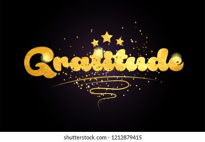 gratitude word with star and golden color suitable for card icon or typography logo design