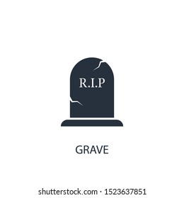 Grave concept icon. Simple one colored halloween element illustration. Vector symbol design from holiday collection. Can be used in web and mobile.