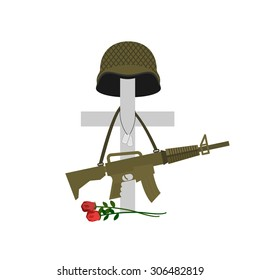 Grave of a fallen soldier. Death of the military. Cross and helmet. Automatic gun hanging on monument. Tomb of a veteran. Vector illustration of Memorial Day