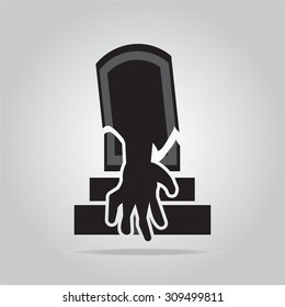 Grave and hand for Halloween symbol, vector illustration