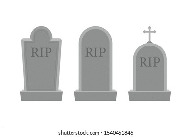 Grave icon flat design. Old gravestone with cracks. Ancient RIP. Vector stock illustration.