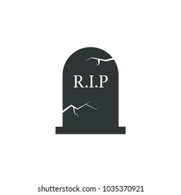 Grave icon halloween simple headstone vector raven illustration sign