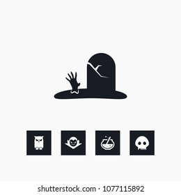 Grave icon halloween simple zombie vector illustration sign