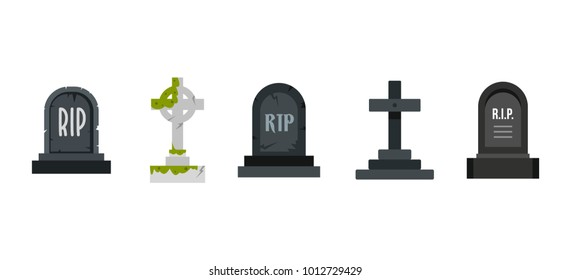 Grave icon set. Flat set of grave vector icons for web design isolated on white background